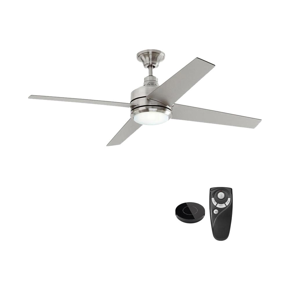 Home Decorators Collection Mercer 52 in. Integrated LED Indoor Brushed Nickel Ceiling Fan with Light Kit works with Google Assistant and Alexa