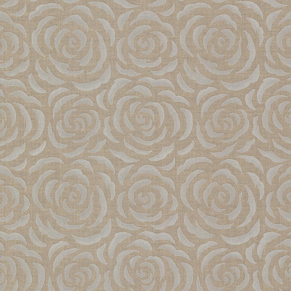 56.4 sq. ft. Rosette Brass Rose Pattern Wallpaper