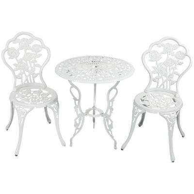 White Flower 3-Piece Cast Aluminum Round Outdoor Bistro Set