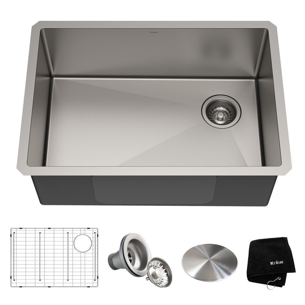 KRAUS Standart PRO Undermount Stainless Steel 27 in. Single Bowl Kitchen  Sink