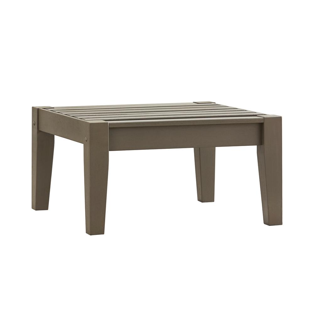 Verdon Gorge Gray Oiled Wood Outdoor Ottoman
