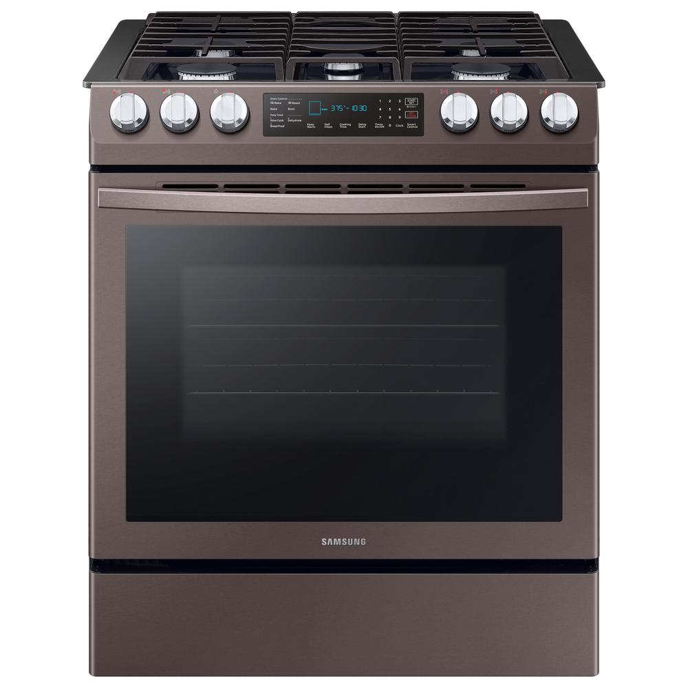 Samsung 30 in. 5.8 cu. ft. Single Oven Slide-In Gas Range with Self-Cleaning and Fan Convection Oven in Tuscan Stainless Steel, Fingerprint Resistant was $1899.0 now $1033.2 (46.0% off)