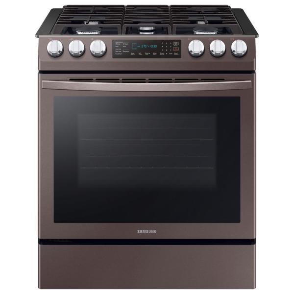 Samsung 30 in. 5.8 cu. ft. Single Oven Slide-In Gas Range with Self-Cleaning and Fan Convection Oven in Tuscan Stainless Steel