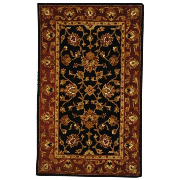 Safavieh Heritage Black Red 3 Ft X 5 Ft Area Rug Hg112a 3 The Home Depot