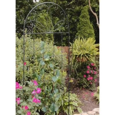 80 in. Black Steel Scroll Curved Trellis