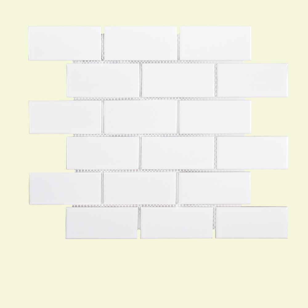 Jeffrey Court Classic Brick 11-5/8 in. x 11-5/8 in. x 6 mm Porcelain Mosaic Tile