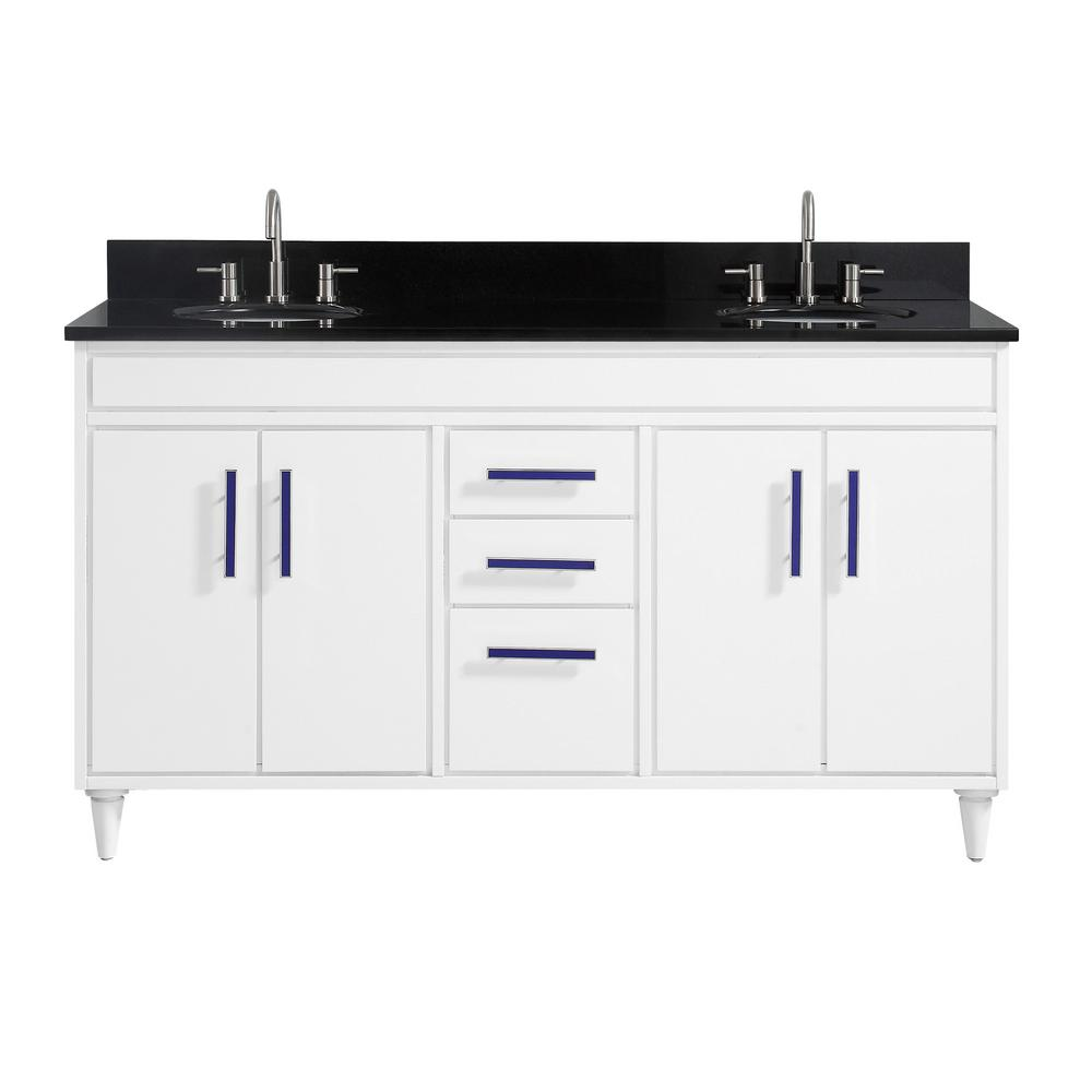 Avanity Layla 61 in. W x 22 in. D x 35 in. H Bath Vanity in White with Granite Vanity Top in Black with White with Basins