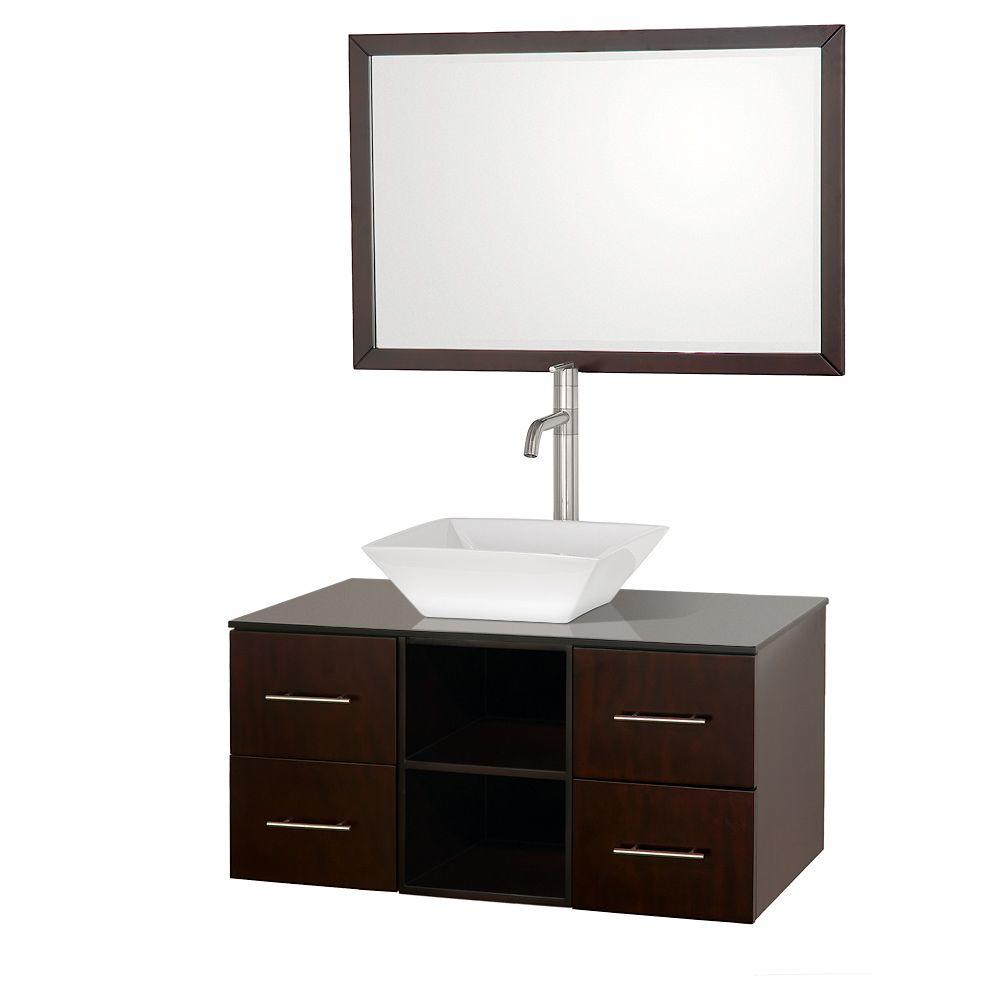 Wyndham Collection Abba 36 in. Vanity in Espresso with Glass Vanity Top in Black and Mirror