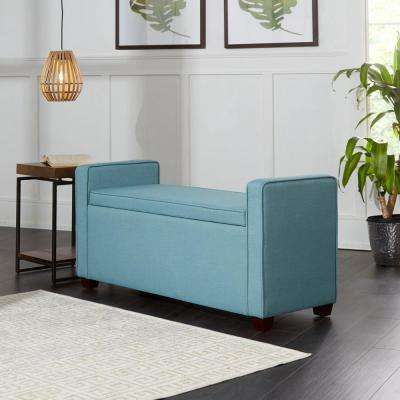 Transitional Capri Blue Bench with Storage