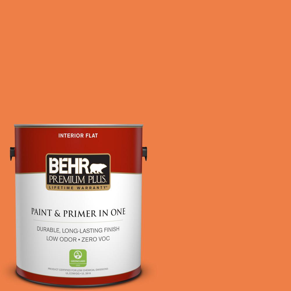 BEHR Premium Plus 1-gal. #240B-6 Orange Zest Zero VOC Flat Interior Paint