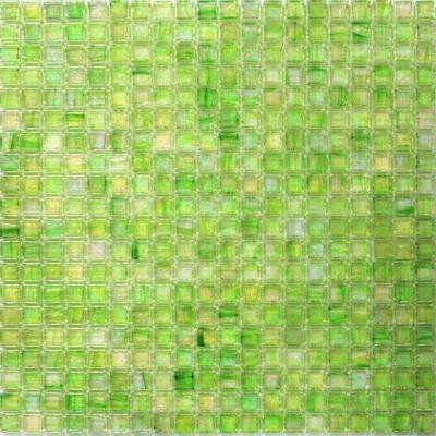 Breeze Green Apple Stained Glass Mosaic Wall Tile - 3 in. x 6 in. Tile Sample