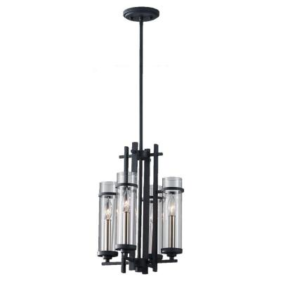Ethan 4-Light Antique Forged Iron/Brushed Steel Mini Chandelier Shade