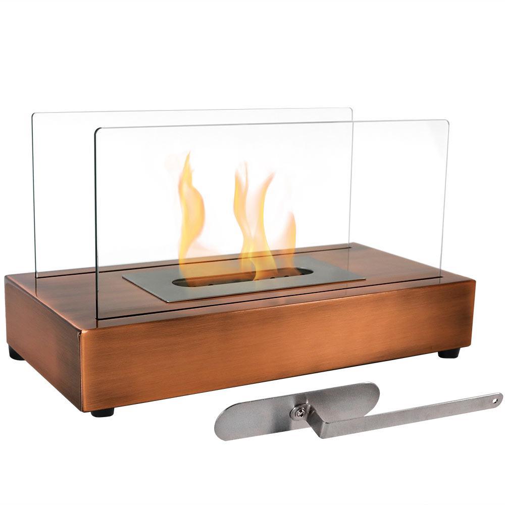 El Fuego 14 in. Bio-Ethanol Tabletop Fireplace in Copper