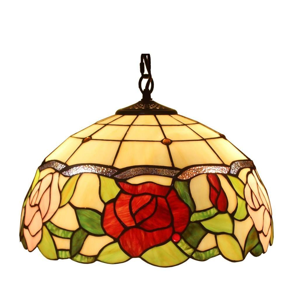 Tiffany Style 2-Light Floral Hanging Pendant Lamp 16 in. Wide