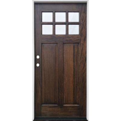36 in. x 80 in. Espresso Right-Hand Inswing 6-Lite Clear  Mahogany Stained Wood Prehung Entry Door with Composite Jamb