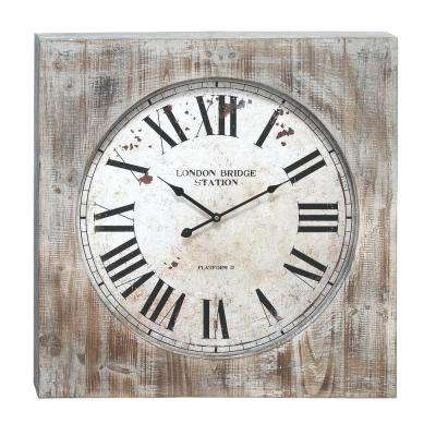 Wesley 27 in. Wall Clock in Distressed Natural