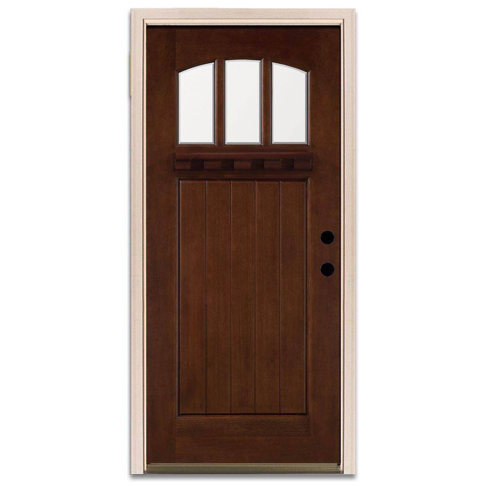 Steves & Sons Craftsman 3 Lite Prefinished Mahogany Wood Prehung Front Door-DISCONTINUED