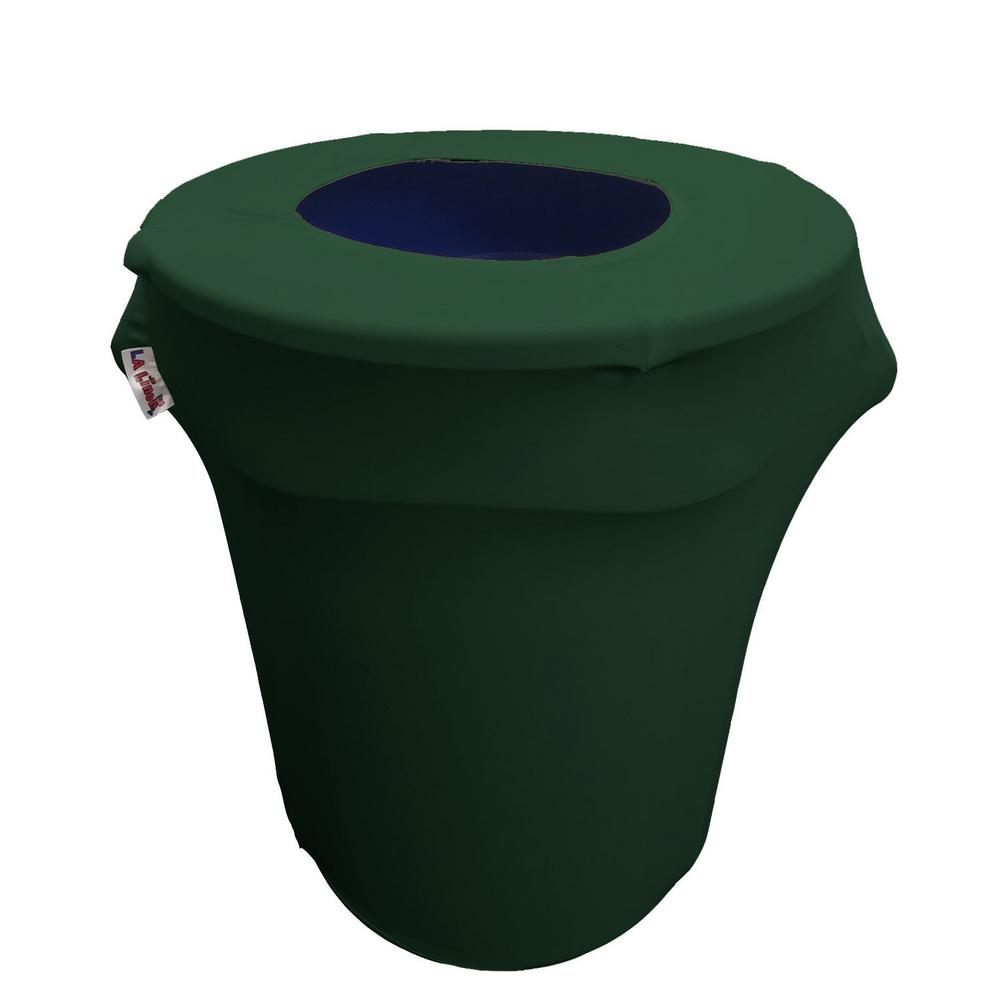 Round Hunter Green Stretch Cover for 32 Gal. Trash Can