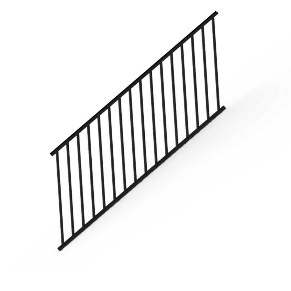 Rdi Satin Black 36 In Aluminum Stair Panel Rail Kit With
