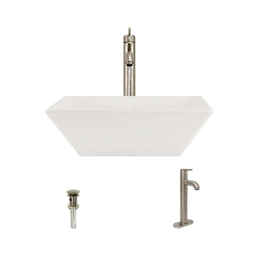 Mr Direct Porcelain Vessel Sink In Bisque With 718 Faucet
