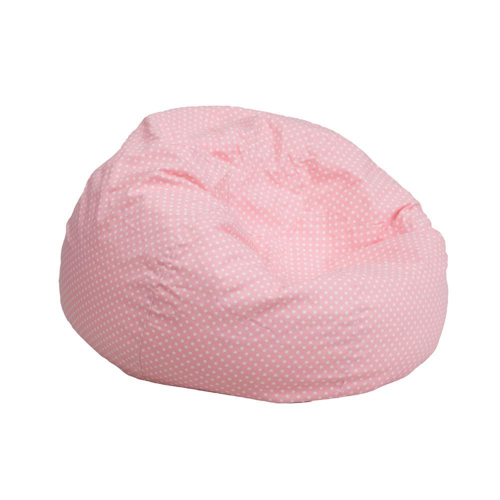 Flash Furniture Small Light Pink Dot Kids Bean Bag Chair DGBEANSMDTPK