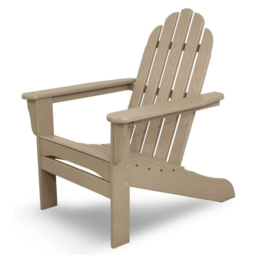 Sand Plastic Patio Adirondack Chair