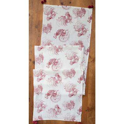 19 in. x 90 in. Red Backyard Rooster Table Runner