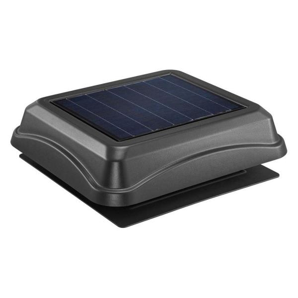 537 CFM Black Plastic Solar Powered Attic Fan with Built-in Screen