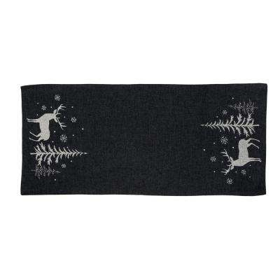 0.1 in. H x 16 in. W x 36 in. D Deer In Snowing Forest Double Layer Christmas Table Runner in Dark Gray