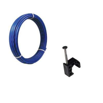 1/2 in. x 100 ft. Coil Blue PEx Pipe and 10-Pack 1/2 in. Talon Clamps