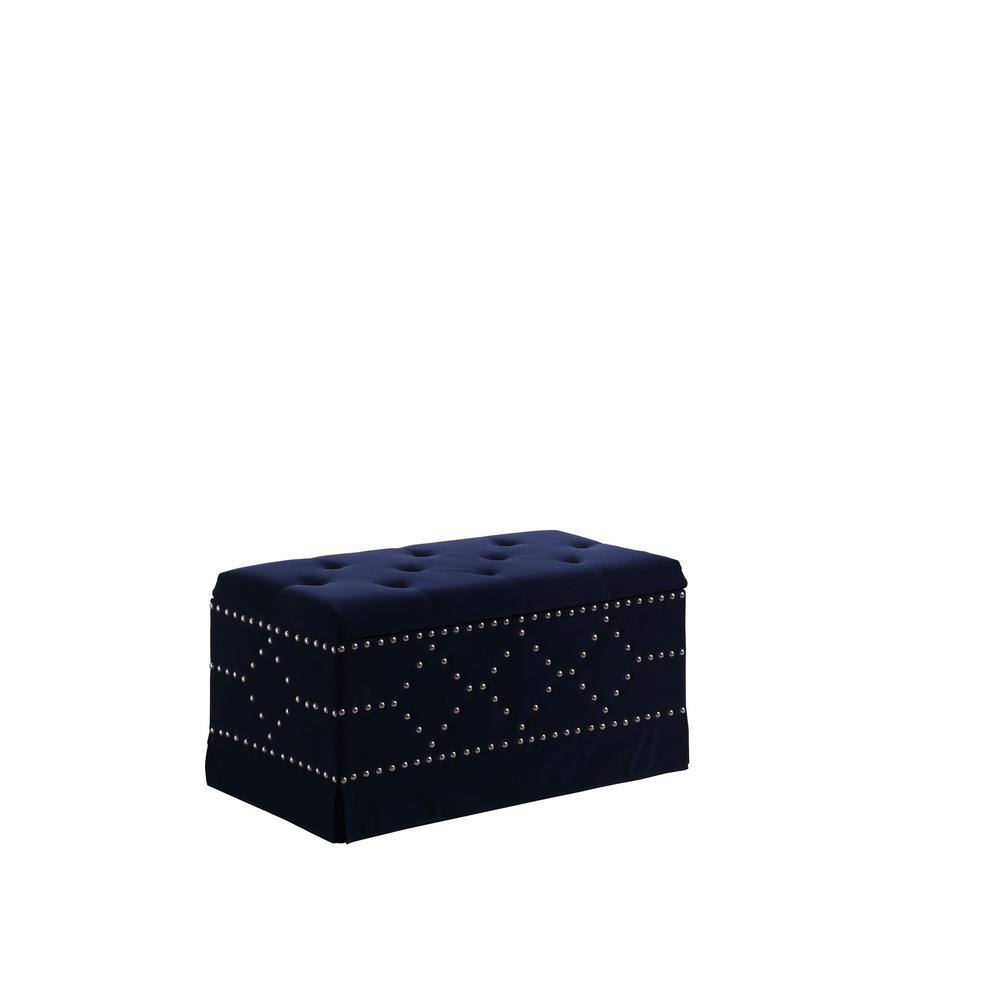 Indigo Blue Velvet Chrome Nailhead Studs Tufted Storage Bench