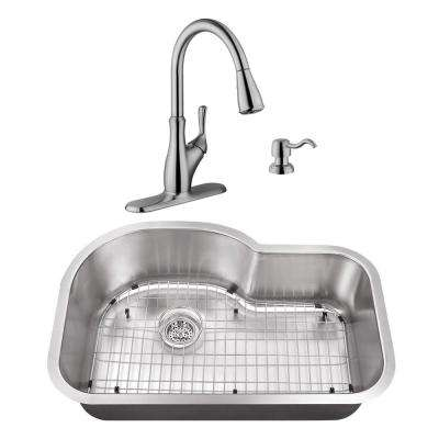 Undermount Stainless Steel 31-1/2 in. Eurostyle Single Bowl Kitchen Sink with Brushed Nickel Faucet