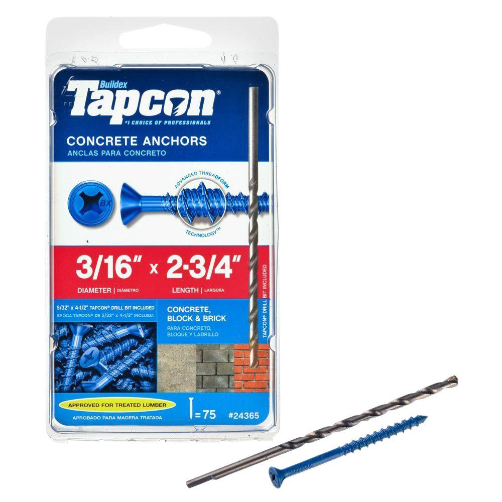 Tapcon 3/16 in. x 2-3/4 in. Phillips-Flat-Head Concrete Anchors (75-Pack)