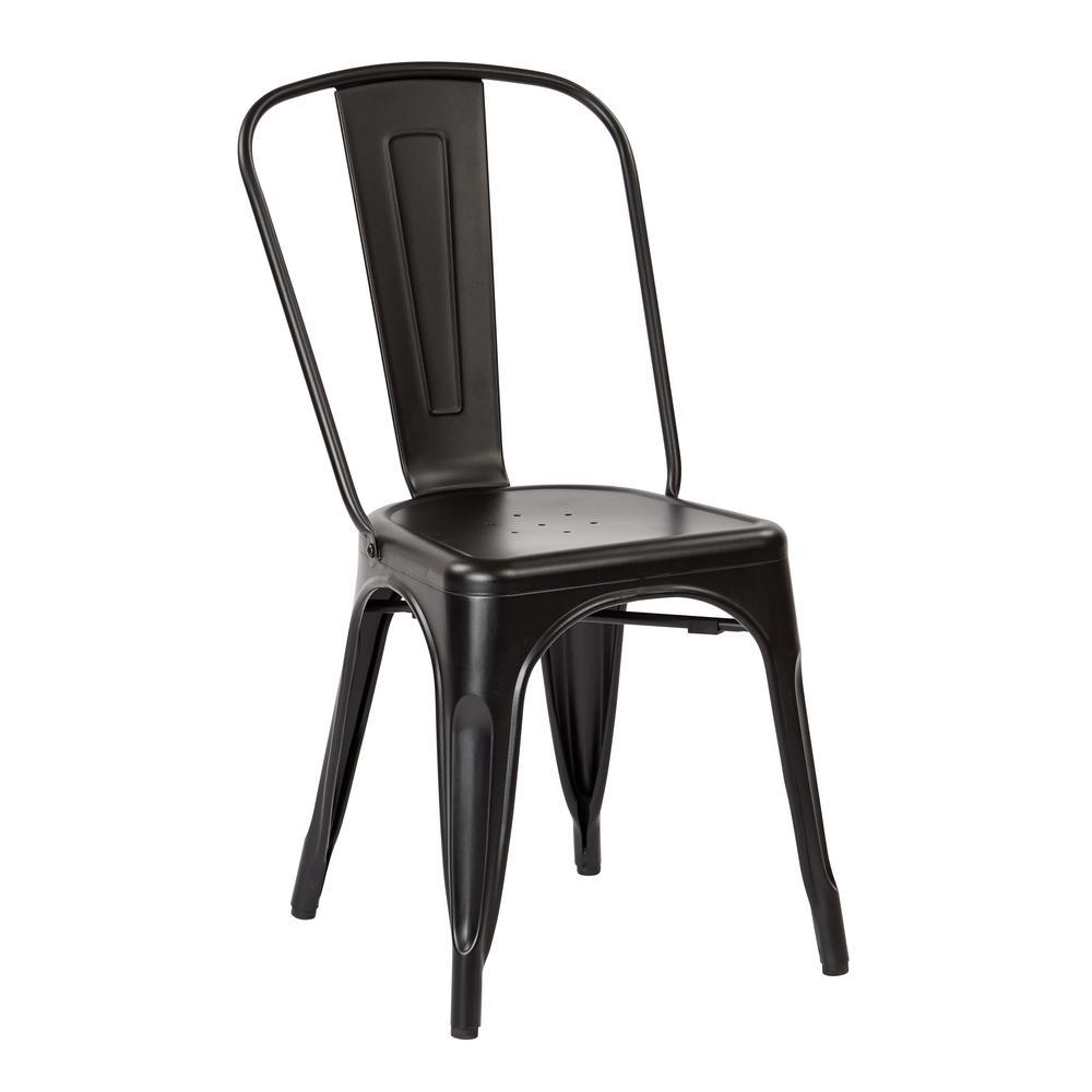 Bristow Matte Black Armless Metal Chair (2-Pack)