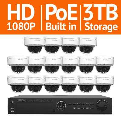 16-Channel Full HD IP Indoor/Outdoor Surveillance 3TB NVR System (16) Dome 1080P Cameras Remote View Motion Record