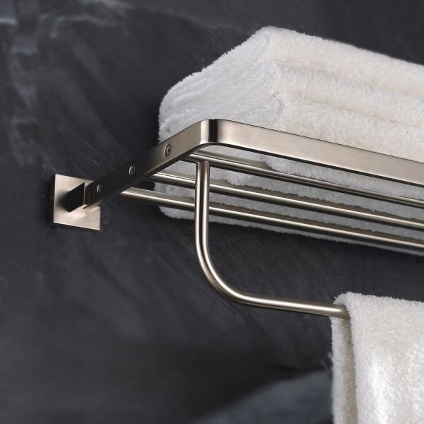 Kraus Aura Bathroom Towel Rack With Towel Bar In Brushed Nickel Kea 14442bn The Home Depot
