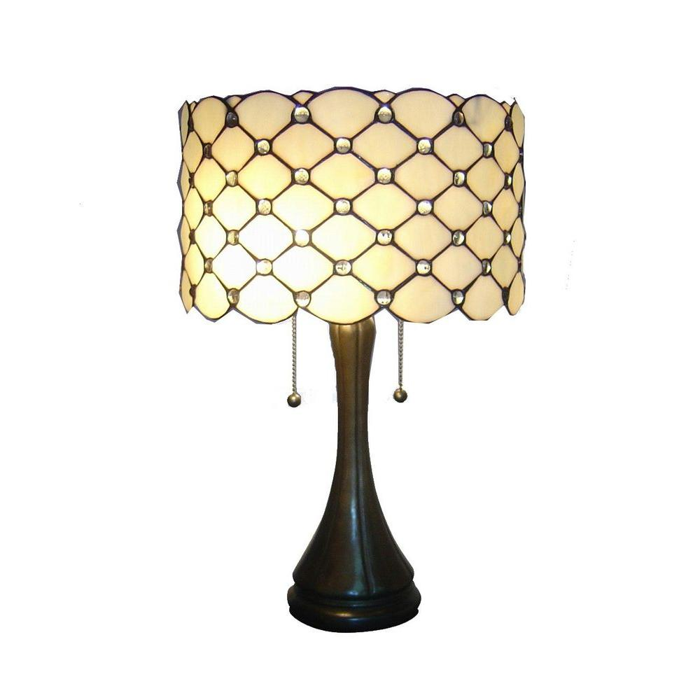 Antique Bronze Modern Stained Glass Table Lamp With Pull Chain
