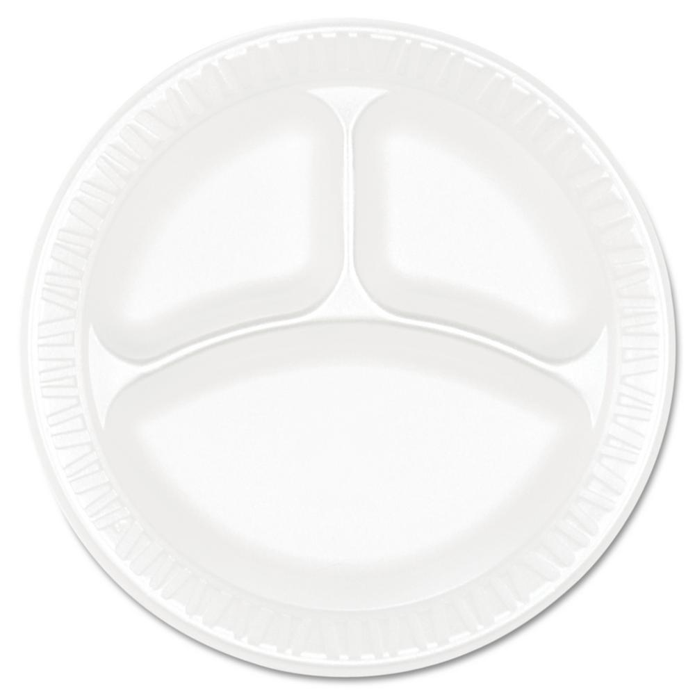 Concorde Non-Laminated 3-Compartment Foam Plastic Plates, 9 in. in White, (500 Per Case)