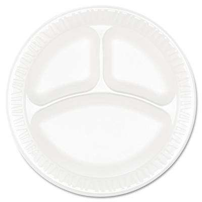 Concorde Non-Laminated 3-Compartment Foam Plastic Plates, 9 in. in White, (500 Per Case)