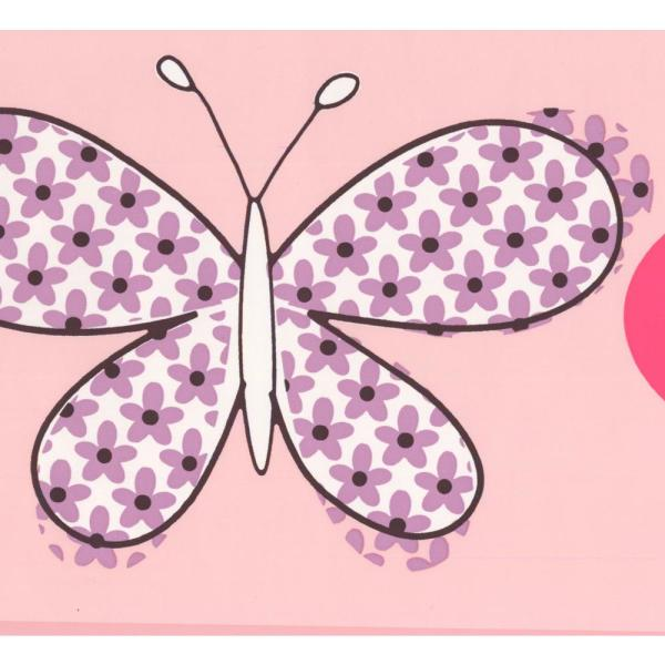 Retro Art Butterfly Kids Baby Prepasted Wallpaper Border Pw4010b The Home Depot