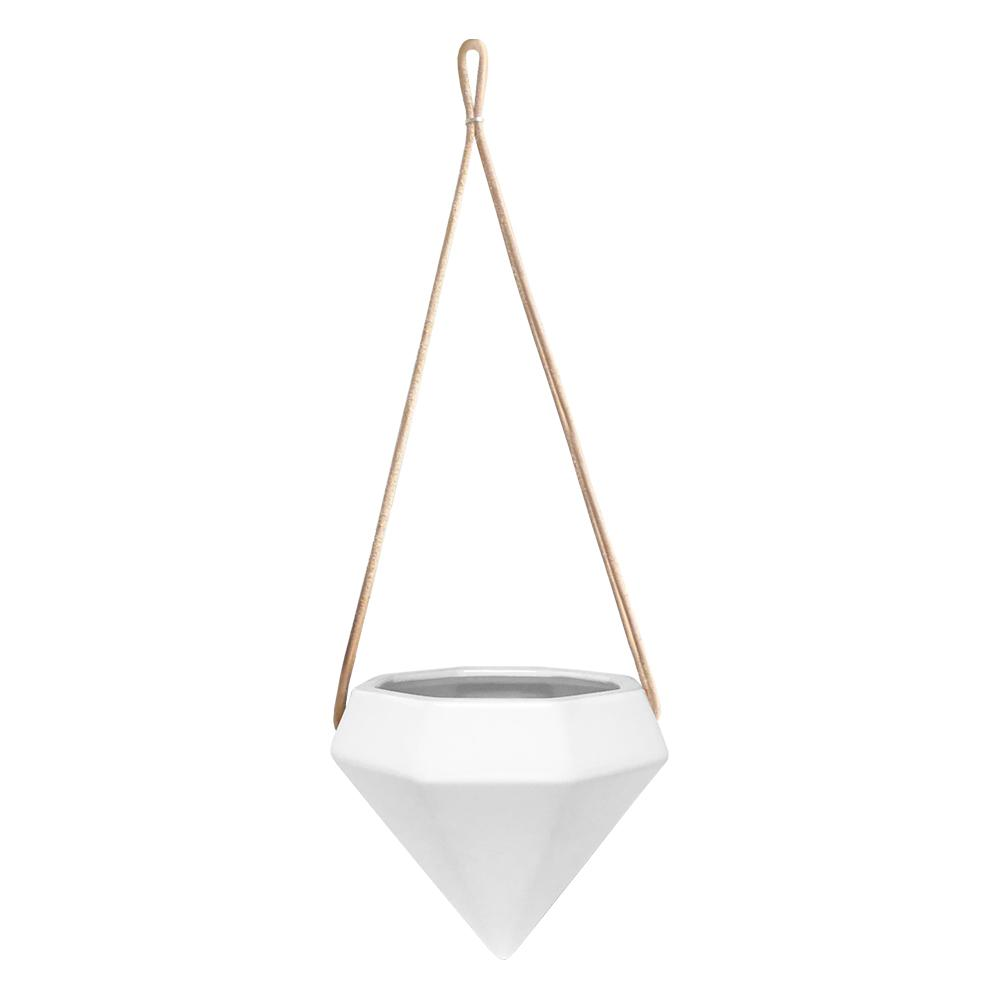 Diamond 4-1/2 in. x 4-1/2 in. Gloss White Ceramic Hanging Planter