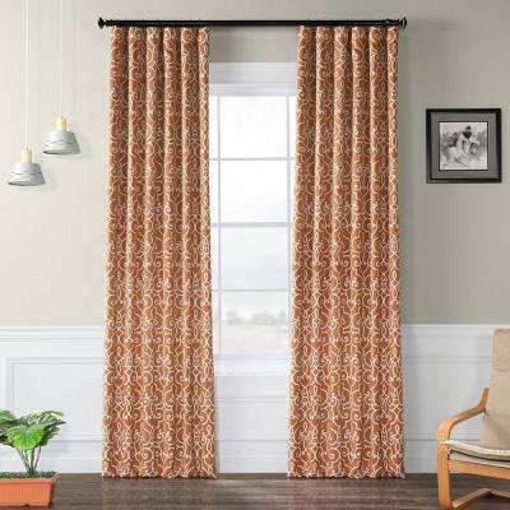 Semi-Opaque Nouveau Rust Blackout Curtain - 50 in. W x 120 in. L (Panel)