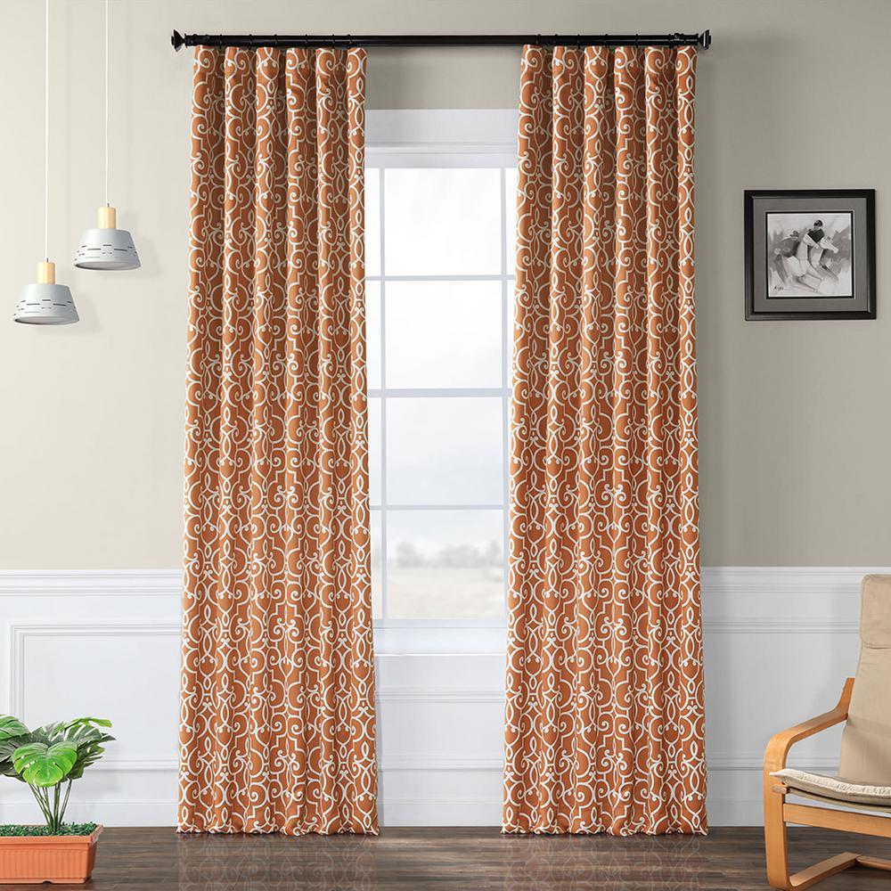 Semi-Opaque Nouveau Rust Blackout Curtain - 50 in. W x 96 in. L (Panel)