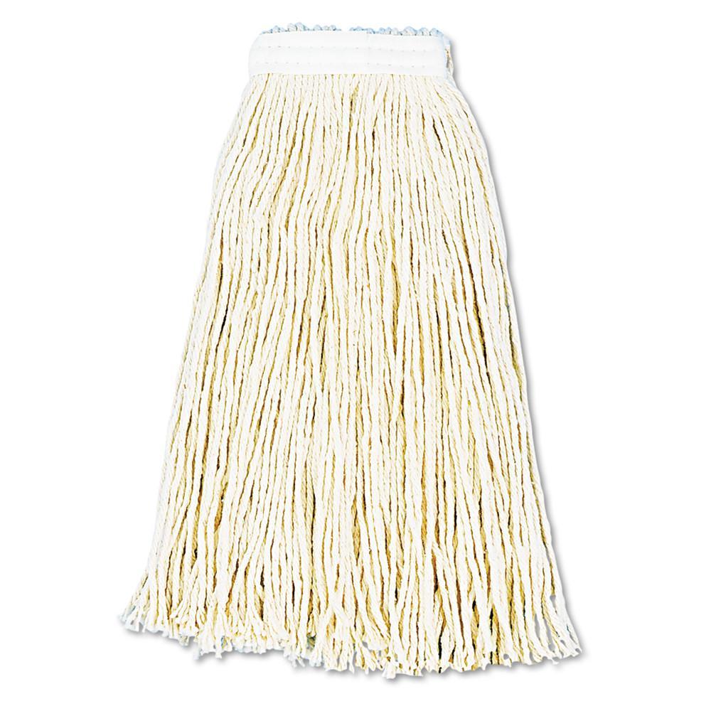 Premium Cut-End Wet Mop Heads, Cotton, 16oz, White, 12/Carton
