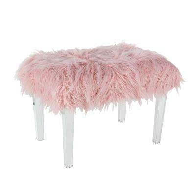 17 in. x 26 in. Wood and Acrylic Pink Fur Foot Stool