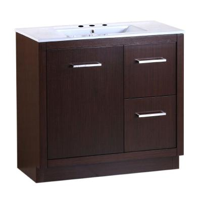 Cudahy 36 in. W x 18 in. D x 33.5 in. H Single Vanity in Wenge with Ceramic Vanity Top in White with White Basin
