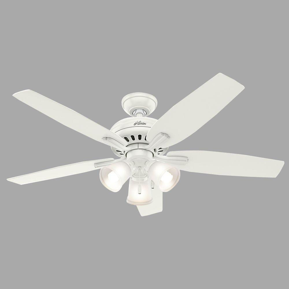 Hunter Newsome 52 in. Indoor Fresh White Ceiling Fan bundled with Light Kit and Hunter Handheld Remote Control