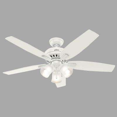Newsome 52 in. Indoor Fresh White Ceiling Fan bundled with Light Kit and Hunter Handheld Remote Control