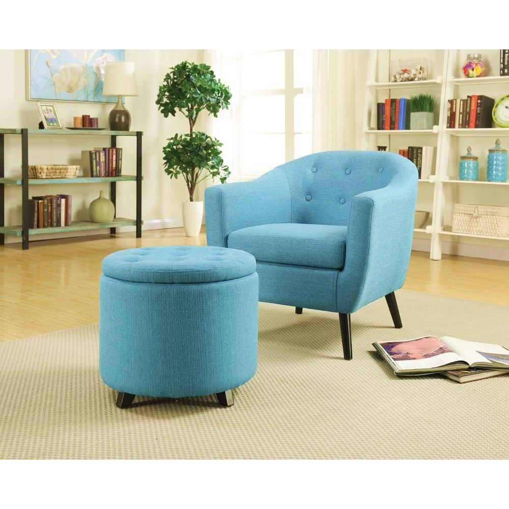 Home Decorators Collection Modern Fabric Storage Ottoman In Turquoise