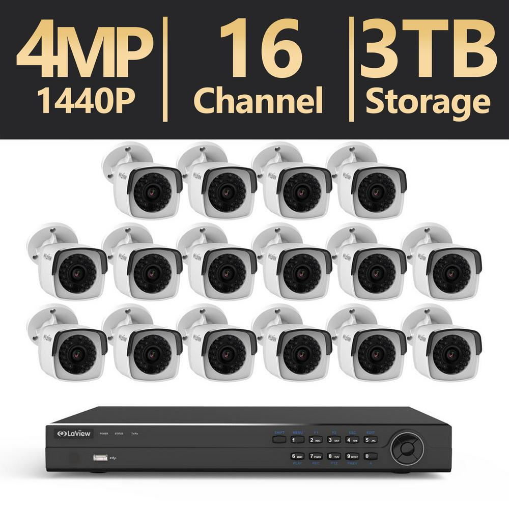 16-Channel 4MP 3TB IP NVR Surveillance System (16) 4MP Bullet Cameras